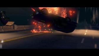 Return to Steelport - vehicle being flipped by Annihilator RPG blast