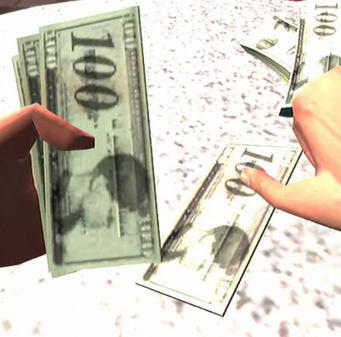 Cash closeup of 100s in Saints Row