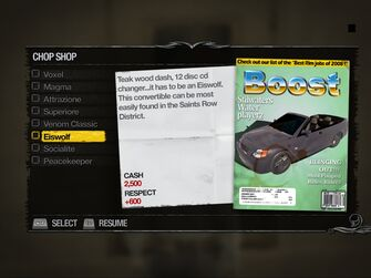 Eiswolf - Truckyard Chop Shop list in Saints Row 2