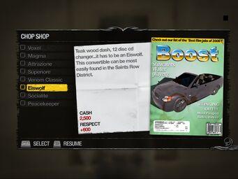 Eiswolf - Truckyard Chop Shop list in Saints Row 2