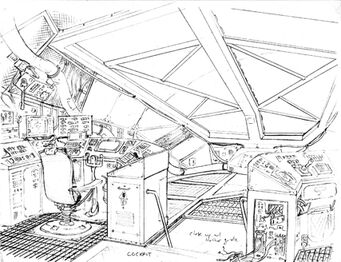 Crib Ship Concept Art - detailed bridge sketch