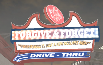 Forgive and Forget exterior sign in Saints Row 2 with demon visible
