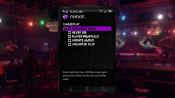 Gameplay Cheats menu in Saints Row The Third