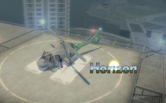 Horizon with logo on helipad
