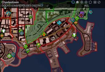 Map in Saints Row 2 - Docks & Warehouses - Charlestown