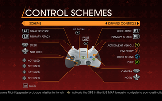 Saints Row Gat out of Hell - Main Menu - Options - Controls - Gamepad - Control Schemes - Driving Controls