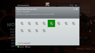 Saints Row Money Shot Achievement - 100% complete
