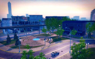 Sommerset in Saints Row 2 - view of small park