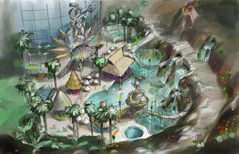 Concept Art of Poseidon's Palace pool area in Saints Row 2