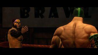 Murderbrawl XXXI - Angel De LaMuerte beckoning to Killbane