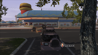 Quasar parked in random space at Freckle Bitch's in Saints Row