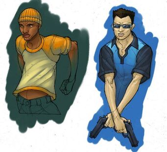 Saints Row - Character Concept Art - male sketches coloured