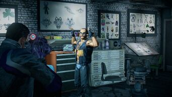 Robbing Rusty's Needle - clerk with raised hands in Saints Row IV