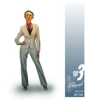 White suit Shaundi in Saints Row The Third Concept Art