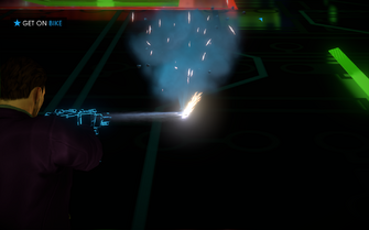 Cyber Blasters being fired during Miller-Space in Saints Row IV