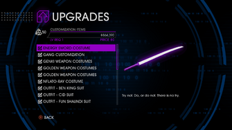 Upgrades menu in Saints Row IV - Page 1 of Customization Items