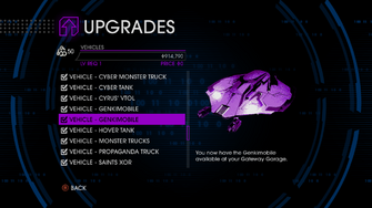 Upgrades menu in Saints Row IV after unlockitall - Genkimobile with Void image