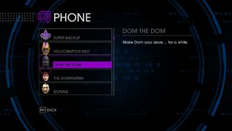 Dom the Dom in homie menu