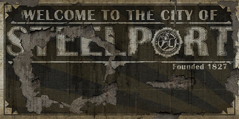 Welcome to Steelport billboard with hole