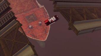House Call - Angelo's Gunslinger falling off raised bridge