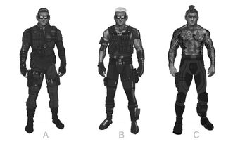 Johnny Gat Concept Art - Super Homie - three outfits