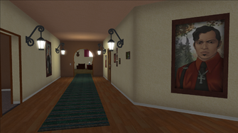 Lopez Mansion in Saints Row - Upper floor Hallway with small paintings