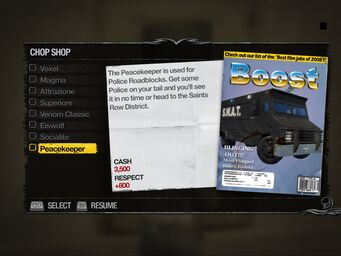 Peacekeeper - Truckyard Chop Shop list in Saints Row 2