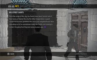 Saints Row 2 menu - Help - Gangs - 3rd Street Saints