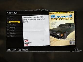 Wellington - Downtown Chop Shop list in Saints Row 2