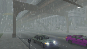 Saints Row demo loading screen - rainy Downtown