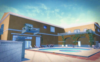 Lopez Mansion pool area in Saints Row 2