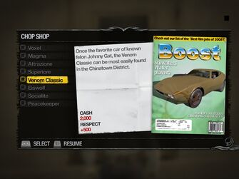 Venom Classic - Truckyard Chop Shop list in Saints Row 2