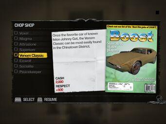 Venom Classic - Truckyard Chop Shop list in Saints Row 2