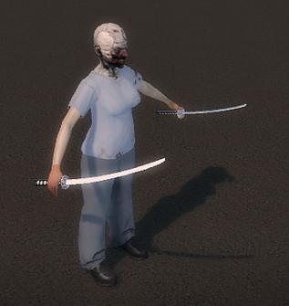 Dual Samurai Swords - Playa attacking outside of Kanto Connection