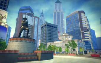 Adept Way in Saints Row 2 - statue and courthouse