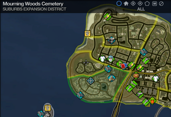 Map in Saints Row 2 - Suburbs Expansion - Mourning Woods Cemetery