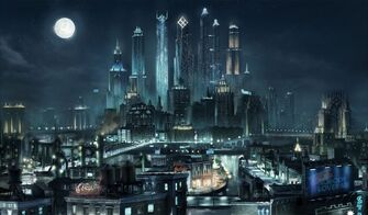 Steelport at night concept art with Nobody Loves Me billboard