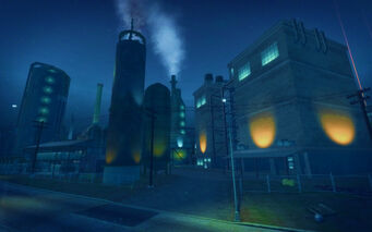Pilsen in Saints Row 2 - refinery at night