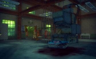 The Mills in Saints Row 2 - interior of slaughterhouse