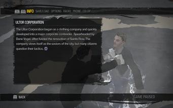 Saints Row 2 menu - Help - Gangs - Ultor Corporation