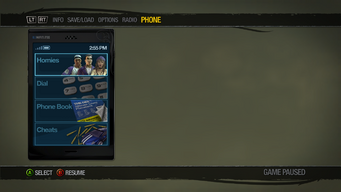 Cellphone menu in Saints Row 2