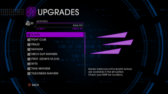 Upgrades menu in Saints Row IV - Page 1 of Activities