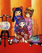 Sakura, Tomoyo y Meilin en Kimonos