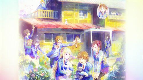Mashiro Shiina's painting of Sakura Dormitory and It's residents