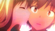 Mashiro kissing Sorata on the cheek
