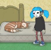 Sal's cat Gizmo lying on his matress