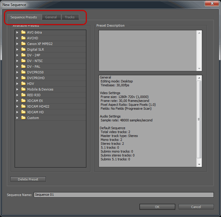 Premiere SequenceSetup