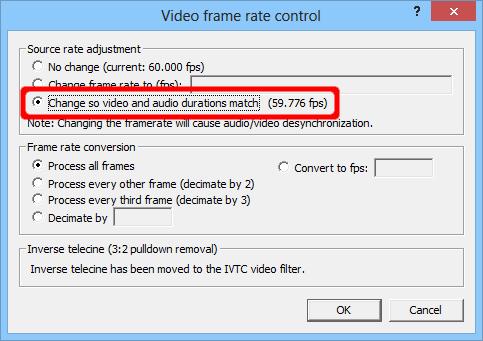 VirtualDub change frame rate to match