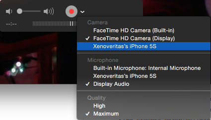 Quicktime record device dropdown