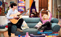 Robbie holding a guitar and Sam in Apartment 22